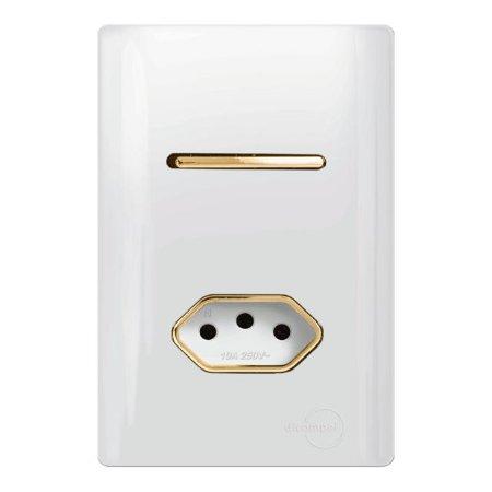 Interruptor Paralelo + 1 Tomada 10A - Dicompel Novara - 1200/20-Gold