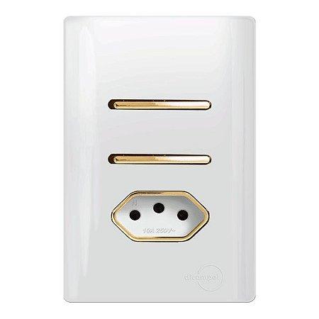 Interruptor Duplo  Simples + 1 Tomada 10A - Dicompel Novara - 1200/23-Gold
