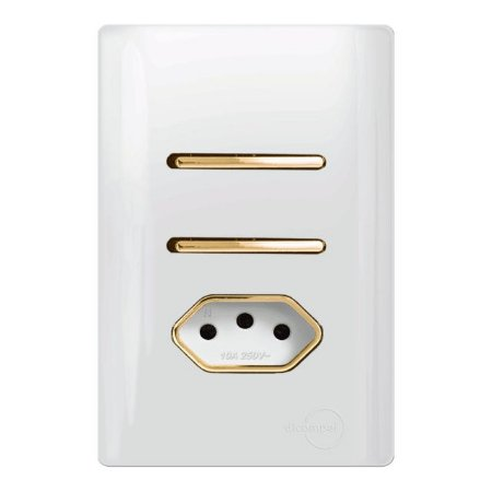 Interruptor duplo 1 Simples + 1 Paralelo + 1 Tomada 20A - Dicompel Novara - 1200/28-Gold