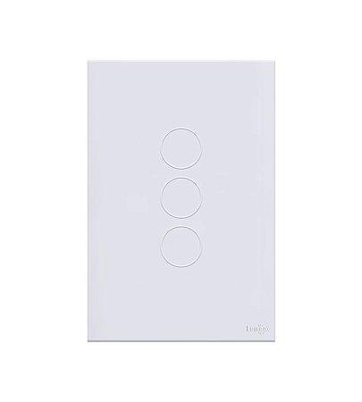 Interruptor Touch 3 teclas Branco Lumenx Linha Glass 4x2