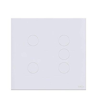 Interruptor Touch 5 teclas Branco Lumenx Linha Glass 4x4
