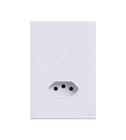 Interruptor Touch 2 Teclas c\ Tomada de 10A Branco Lumenx Linha Glass 4x2