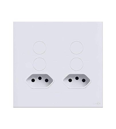 Interruptor Touch 4 teclas c\ 2 Tomadas de 10A Branco Lumenx Linha Glass 4x4