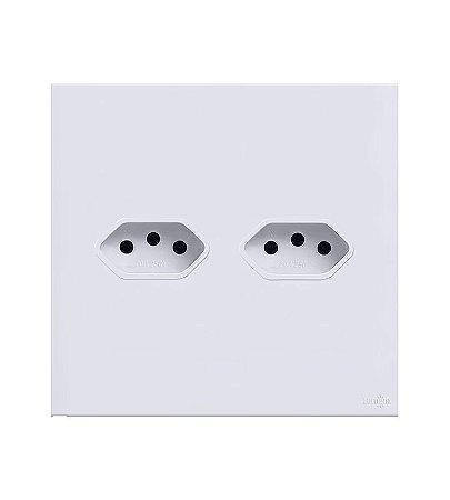 Tomada Dupla 10A  Branca Lumenx Linha Glass 4x4