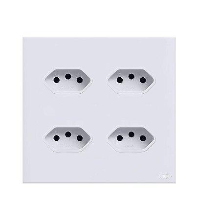 Tomada Quadupla 10A  Branca Lumenx Linha Glass 4x4