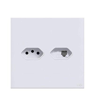 Tomada 10A c\ RJ11  Branca Lumenx Linha Glass 4x4