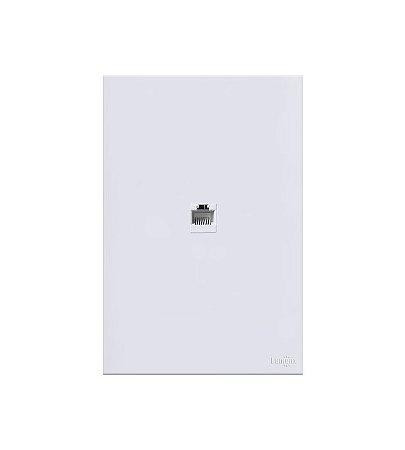 Placa c\ conector RJ45 Branca Lumenx Linha Glass 4x2