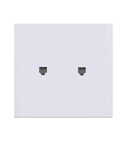 Placa c\ Conector Duplo RJ45 Branca Lumenx Linha Glass 4x2