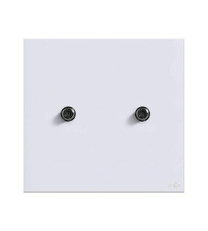 Tomada Coaxial Dupla p\ Antena Branca Lumenx Linha Glass 4x4