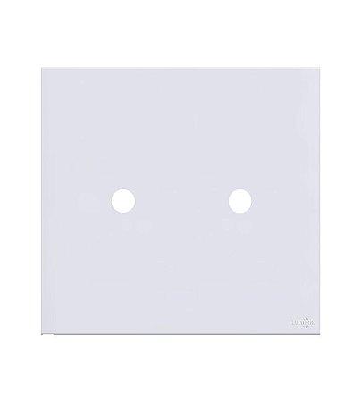 Espelho Duplo p\ Tomada Coaxial Lumenx Branca Linha Glass 4x4