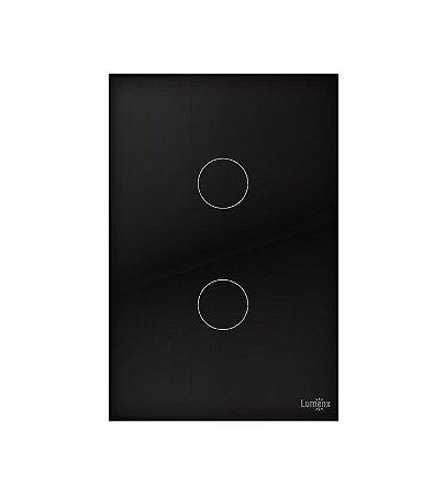 Interruptor Touch 2 Teclas Preto  Lumenx Linha Glass 4x2
