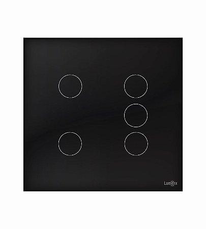 Interruptor Touch 5 Teclas Preto Lumenx Linha Glass 4x4