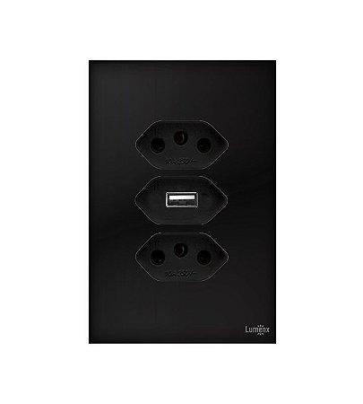 Tomada Dupla 10A c\ Carregador USB 5v preto Lumenx Linha Glass 4x2