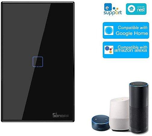 Interruptor Touch Sonoff Wifi + RF 433 1 tecla Preto [T3US3C-TX] - 4x2