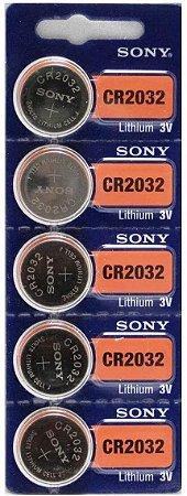 Bateria Moeda Cr2032 Sony Lithium 3v Original 5 Unidades