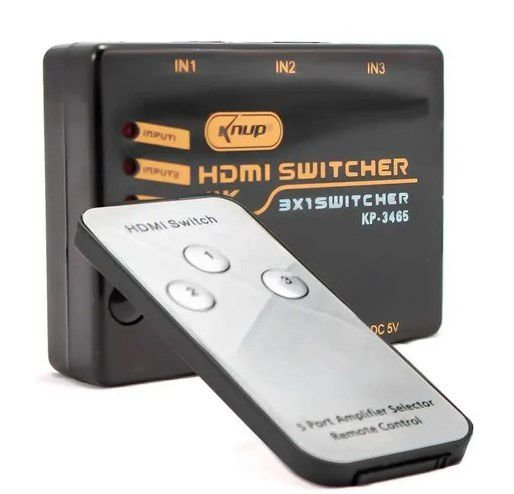 Switch Hdmi 3x1 Hub 4k Ultra HD C/ Controle Remoto