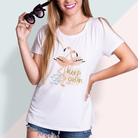 T-SHIRT FEMININA ILUSTRADA KEEP CALM