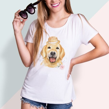 T-SHIRT FEMININA ILUSTRADA DOG GOLDEN