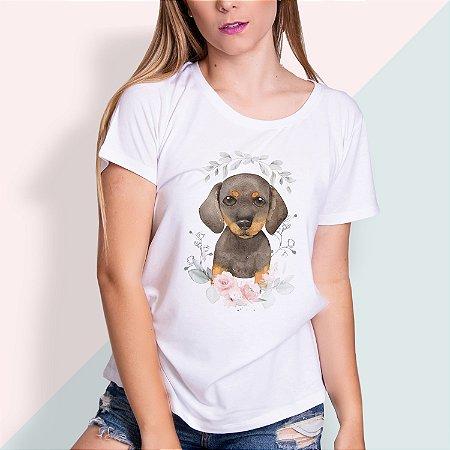 T-SHIRT FEMININA ILUSTRADA DOG MARROM