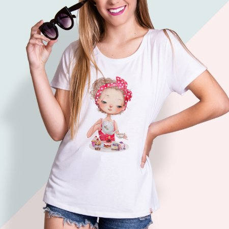 T-SHIRT FEMININA ILUSTRADA GIRL TEA TIME
