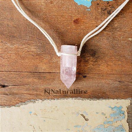 Colar Aromático/ Difusor pessoal em Pedra Natural em Ponta - Quartzo Rosa – Naturallice