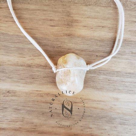 Colar Aromático/ Difusor Pessoal em Pedra Natural Rolada Citrino – Naturallice