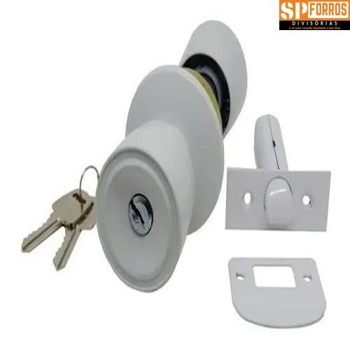 Fechadura Tubular 90mm  Branca Porta Divisória Eucatex