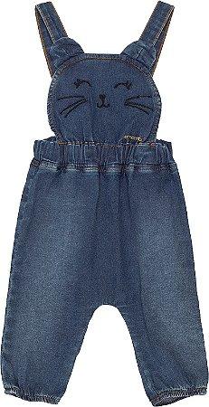 Jardineira Infantil Momi Jeans Carinha de Gatinho 878