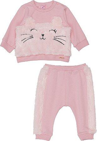 Conjunto Infantil Momi Blusão Infantil e Calça Infantil de Moletom Detalhe em Pelo 1005