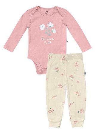 Conjunto Infantil Hering Body Manga Longa e Calça Infantil em Ribana 58F4