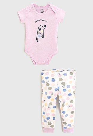 Conjunto Infantil Hering Lilás com Poa em Ribana Body Manga Curta e Calça Infantil 58EW