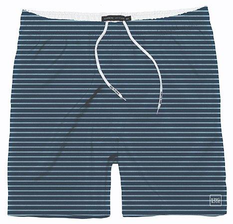Shorts Infantil King e Joe Azul Marinho Listrado de Tactel Curto Praia SH022205K