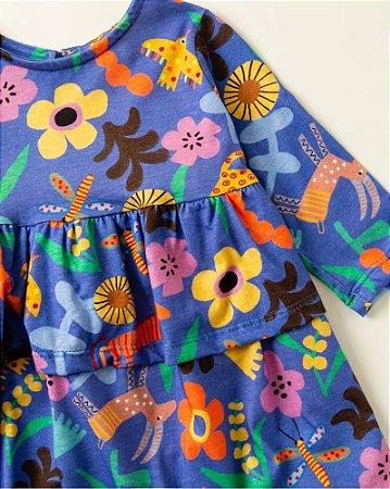 Vestido Infantil Fábula Malha Florix Manga Longa 8830