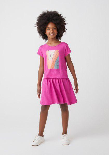 Vestido Infantil Hering Malha Pink Barra Franzida Detalhe Estampa