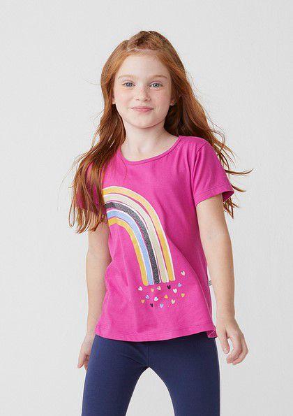 Camiseta Infantil Hering Pink Arco Iris Lateral Coraçoes 5CHA/K37