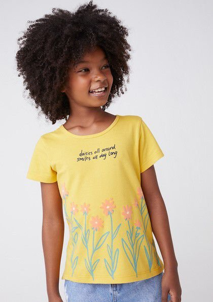 Camiseta Infantil Hering Amarela Margaridas Laranja 5CHA/YVBen