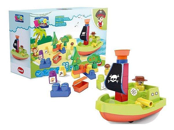 Blocos de Montar Ilha do Pirata 22 Peças - Dismat MK 363