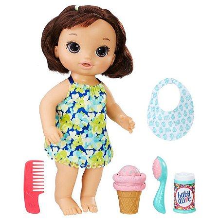 Boneca Baby Alive Sobremesa Mágica Sorvete Mágico Hasbro - Morena