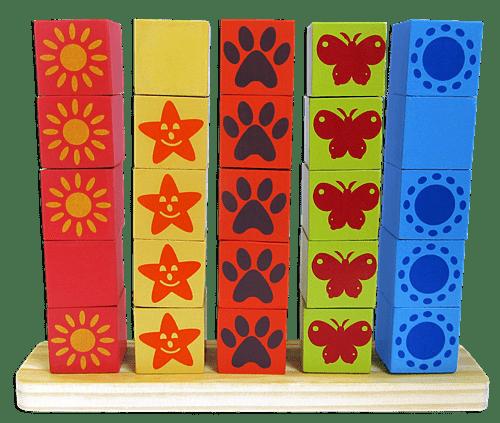 Jogo Cubos Seriados - Carimbras - Brinquedo Educativo em Madeira