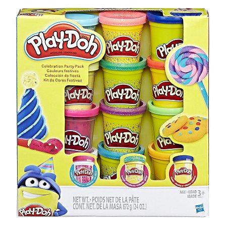 Massinha Play-Doh Kit com 12 Potes de Cores Festivas - Hasbro