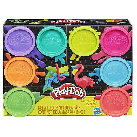 Massinha Play-Doh Kit com 8 Potes Neon - Hasbro