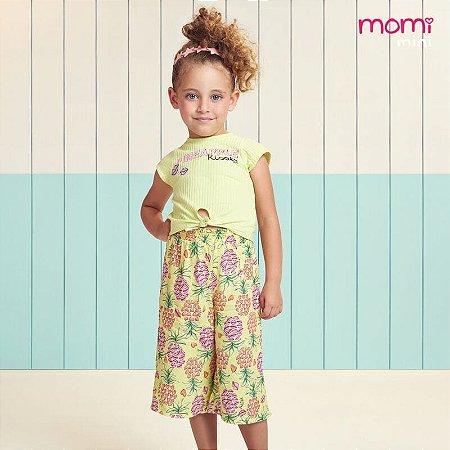 Conjunto Infantil Blusa e Calça Pantacourt Abacaxi Neon - Momi