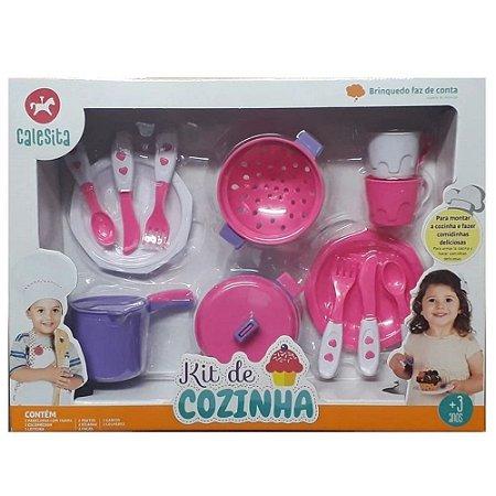 Kit de Cozinha com 13 Peças Rosa - Calesita