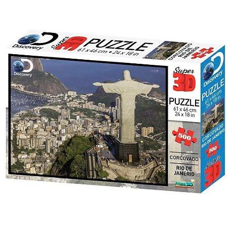 Quebra Cabeça Super 3D Puzzle Corcovado, Rio de Janeiro Multikids 500 Peças