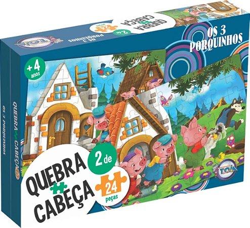 Conjunto de 2 Quebra-Cabeças Puzzle Toia 48 peças Os Três Porquinhos