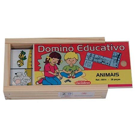 Dominó Animais 28 peças em Madeira Carimbras - Brinquedo Educativo em Madeira