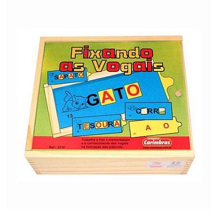 Fixando as Vogais 61 peças em Madeira Carimbras - Brinquedo Educativo em Madeira