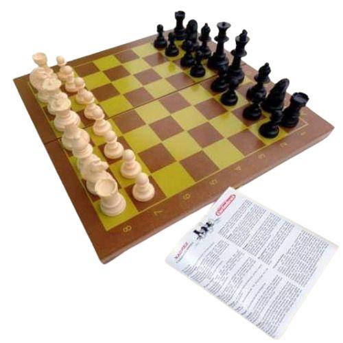 Jogo Xadrez 32 peças em Madeira Carimbras - Brinquedo Educativo em Madeira