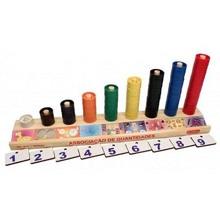 Associação de Quantidades 9 Peças em Madeira Carimbras - Brinquedo Educativo em Madeira