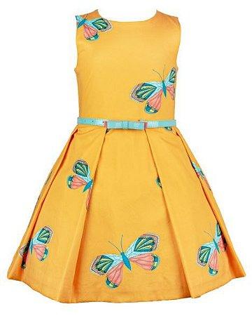 Vestido Mactoot Borboletas Amarelo